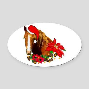 Christmas Horse Oval Car Magnet