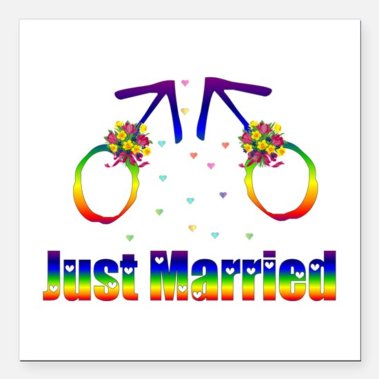 "Just Married Gay Men Square Car Magnet 3"" x 3"""
