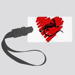 newt_heart01 Large Luggage Tag
