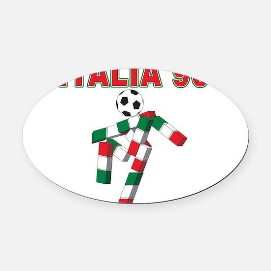 Italian soccer logo(blk).png Oval Car Magnet