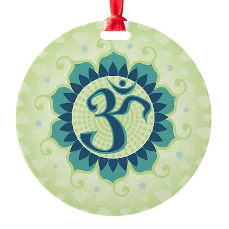 Lotus Aum Green Round Ornament