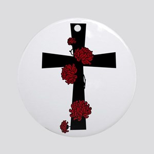 Red Flower Cross Ornament (Round)