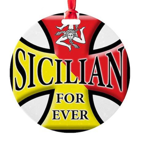 Siclia oval sticker a Round Ornament