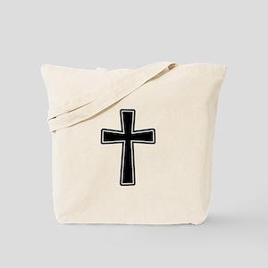 White Outline Black Cross Tote Bag