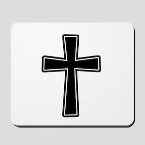 White Outline Black Cross Mousepad