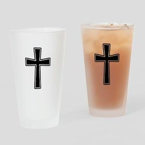 White Outline Black Cross Drinking Glass