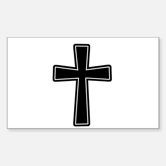 White Outline Black Cross Sticker (Rectangle)