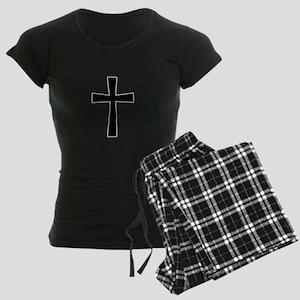 White Outline Black Cross Women's Dark Pajamas