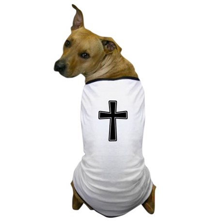 White Outline Black Cross Dog T-Shirt