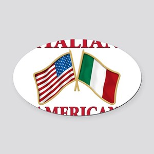Italian american(blk) Oval Car Magnet