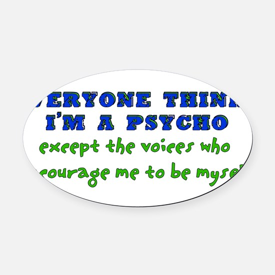 humor_saying_voices02.png Oval Car Magnet