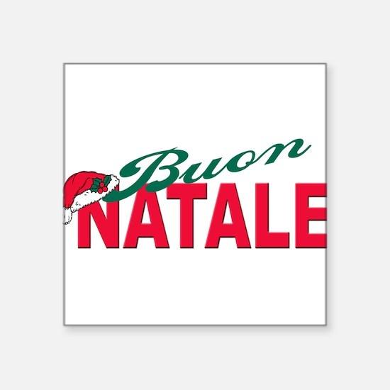 "buon natale(blk)hat.png Square Sticker 3"" x 3"""