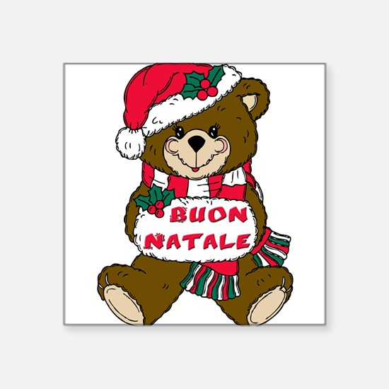 buon natale teddy bear(blk)1.png Square Sticker 3""