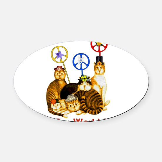 peacecats01.png Oval Car Magnet