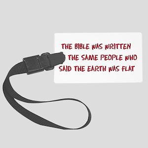 Flat Earth Bible Large Luggage Tag