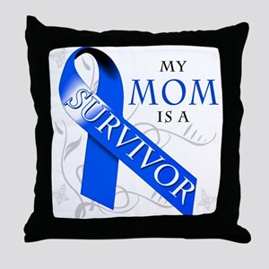 My Mom is a Survivor (blue) Throw Pillow