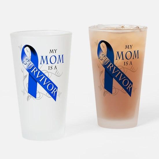 My Mom is a Survivor (blue) Drinking Glass