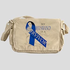 My Husband is a Survivor (blue) Messenger Bag