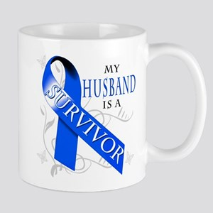 My Husband is a Survivor (blue) Mug