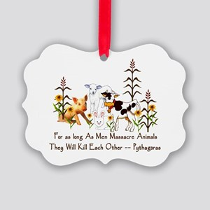 Pythagoras Vegetarian Quote Picture Ornament