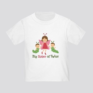 Big Sister of Twins - Butterfly Toddler T-Shirt