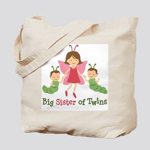Big Sister of Twins - Butterfly Tote Bag