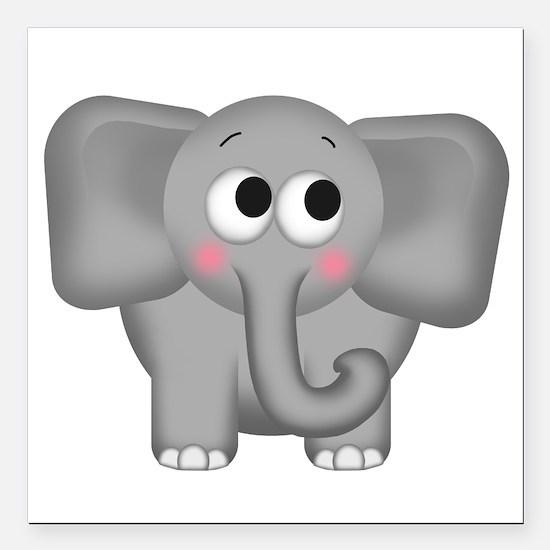 "Adorable Elephant Square Car Magnet 3"" x 3&qu"