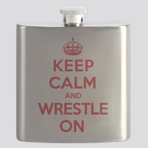 Keep Calm Wrestle Flask