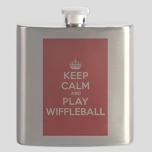 Keep Calm Play Wiffleball Flask