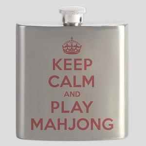 Keep Calm Play Mahjong Flask
