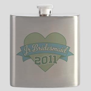Jr Bridesmaid Heart Banner 2011 ornament Flask