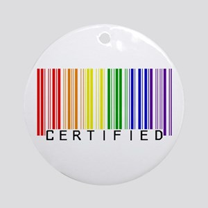 Certified Rainbow Bar Code Ornament (Round)