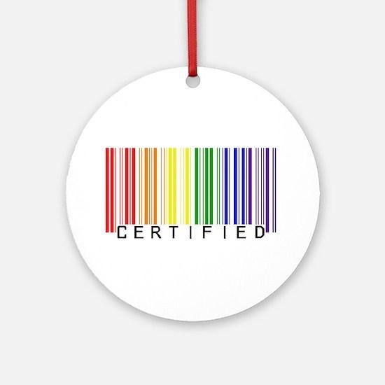 Certified Rainbow Bar Code Ornament (Round)