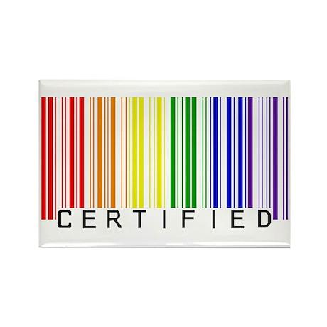 Certified Rainbow Bar Code Rectangle Magnet (100)
