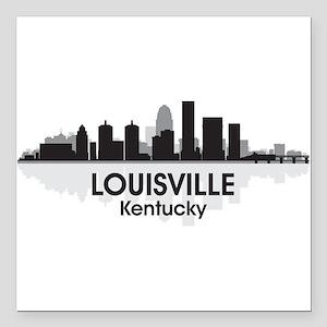 "Louisville Skyline Square Car Magnet 3"" x 3"""