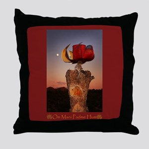 Prayer Wheel Red Throw Pillow