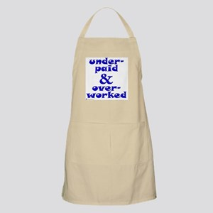 Underpaid, blue BBQ Apron