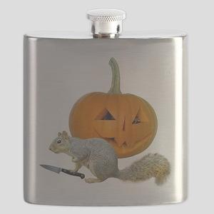 Squirrel Carving Pumpkin Flask