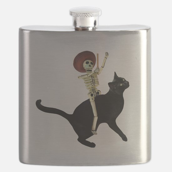 Skeleton on Cat Flask