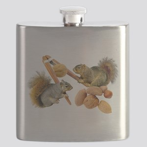 Squirrels Cracking Nuts Flask