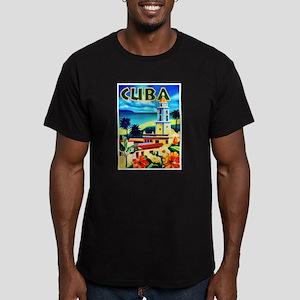 Cuba Travel Poster 6 Men's Fitted T-Shirt (dark)