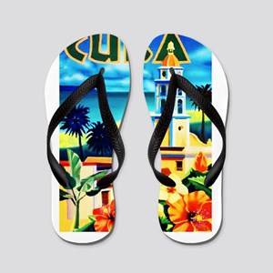 Cuba Travel Poster 6 Flip Flops