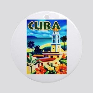 Cuba Travel Poster 6 Ornament (Round)