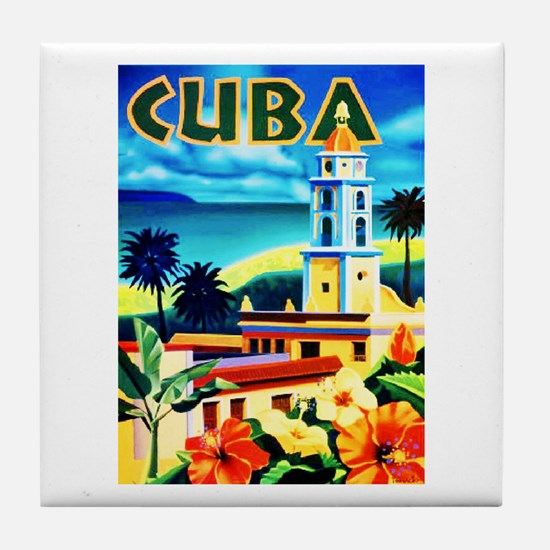Cuba Travel Poster 6 Tile Coaster