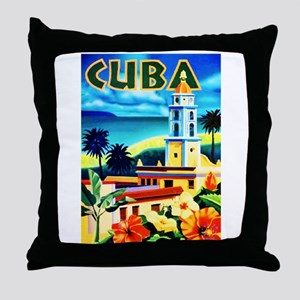 Cuba Travel Poster 6 Throw Pillow