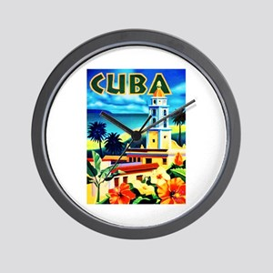 Cuba Travel Poster 6 Wall Clock
