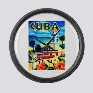 Cuba Travel Poster 6 Large Wall Clock