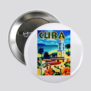 "Cuba Travel Poster 6 2.25"" Button"
