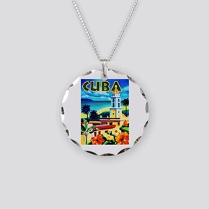 Cuba Travel Poster 6 Necklace Circle Charm