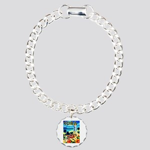 Cuba Travel Poster 6 Charm Bracelet, One Charm